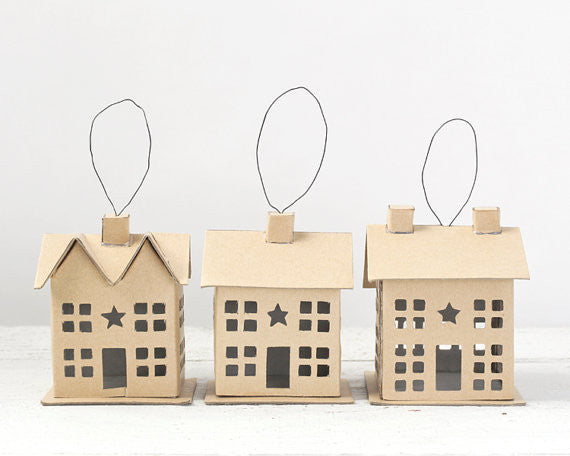 Putz House Ornaments - Set of 3 Plain Cardboard Cottages