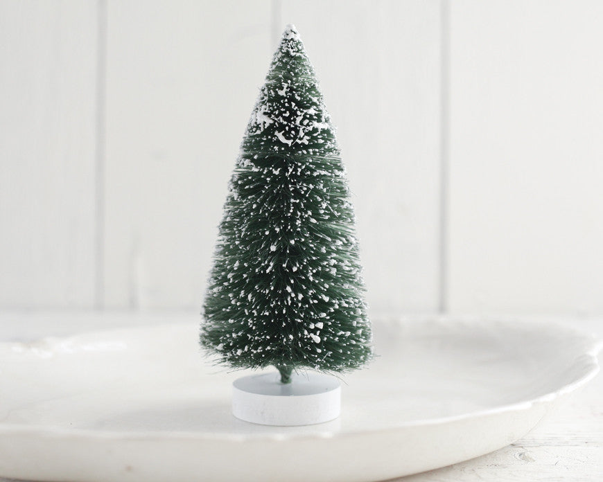 large bottle brush tree 8 inch frosted sisal christmas tree - Bottle Brush Christmas Tree