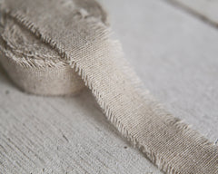 "Rustic Linen Ribbon - 1"" Frayed Edge Fabric Ribbon Roll, 5 Yds"