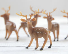 Miniature Plastic Deer - Tiny Woodland Deer, Craft Figurines