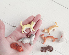 Miniature Plastic Cats - 7 Tiny Kitties, Craft Figurines