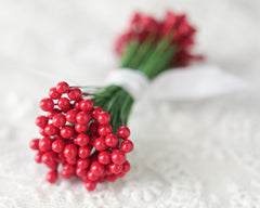 Mini Holly Berry Stems - 144 Berries on 72 Wires