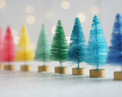 Rainbow Bottle Brush Trees - 8 Dyed Miniature Sisal Trees