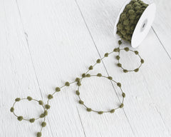 Pom Pom Garland - Moss Green Wired Craft Trim, 25 Yard Spool