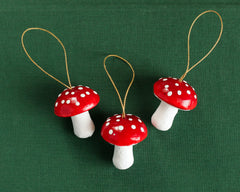 Mushroom Ornaments - Set of 3 Red Toadstool Christmas Decorations