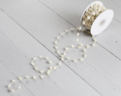 Pom Pom Trim - Natural Cream Wired Garland, 25 Yard Spool