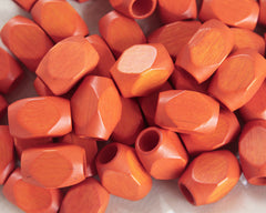 Macrame Beads - Vintage Orange Faceted Wood Beads, 16 x 25mm, 8 Pcs.