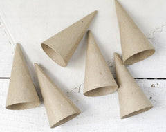 Mini Paper Mache Cones - Set of 6
