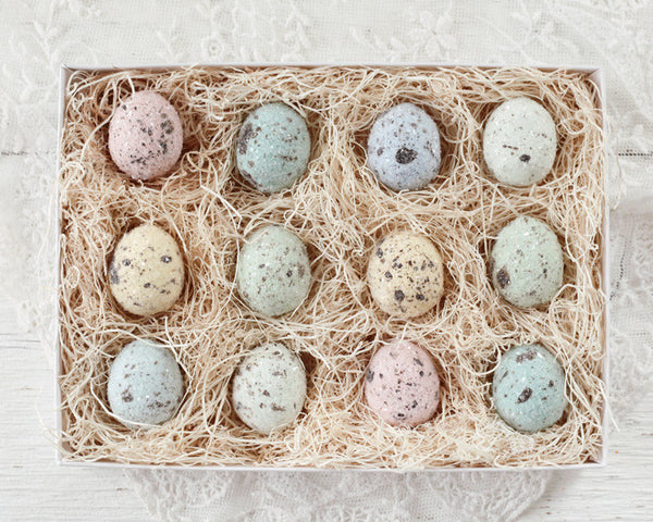 Pastel Easter Eggs - One Dozen Spun Cotton Eggs, Boxed Set