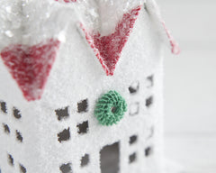 Peppermint Cottage - White and Red Putz House Christmas Decoration