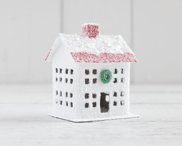 Peppermint Putz House - White and Red Vintage Style House Christmas Decoration