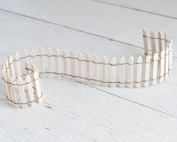 Fairy Garden Fence - Miniature Unfinished Wood Picket Fence