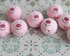 Spun Cotton Heads: PIGS - 22mm Pink Piggie Heads with Faces, 8 Pcs.