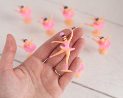 Miniature Ballerina Figures - 10 Tiny Pink Ballet Dancer Craft Figurines