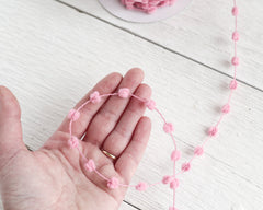 Pom Pom Trim - Pink Wired Craft Garland, 25 Yard Spool