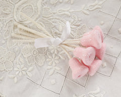 Sugar Bells - Pink Spun Cotton Retro Craft Stems with Glass Glitter