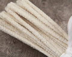 Old Fashioned Pipe Cleaners - Thin Off White Chenille Stems, Bundle of 50