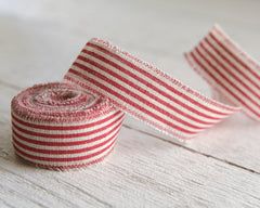"Red Striped Linen Ribbon - 1"" Rustic Frayed Edge Fabric Ribbon Roll, 5 Yds"