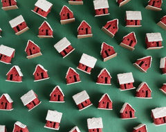Miniature Putz Houses - 5 Vintage Style Fuzzy Red Cardboard Houses