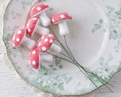 Glittered Spun Cotton Mushroom Ornaments - Set of 6