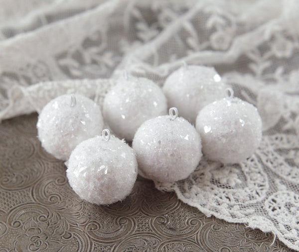 Mini Spun Cotton Snowballs - Miniature Christmas Ornaments, Set of 6