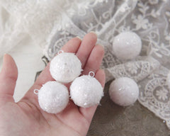 Mini Spun Cotton Snowballs - Miniature Christmas Ornaments