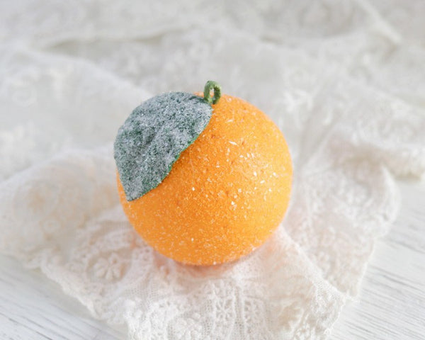 Spun Cotton Orange - Victorian Style Fruit Ornaments