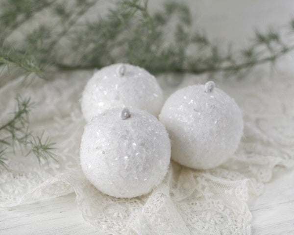 Spun Cotton Snowballs - Set of 3 Shimmering White Christmas Ornaments