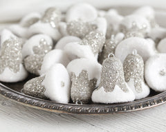 Silver Bells - Spun Cotton Retro Bell Ornaments, Set of 3