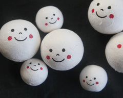 Spun Cotton Heads: SMILEY FACE - Vintage-Style Cotton Doll Heads with Happy Faces