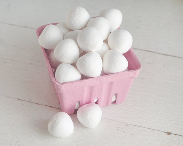 Spun Cotton Strawberries - Spun Cotton Fruit Craft Shapes, 8 Pcs.