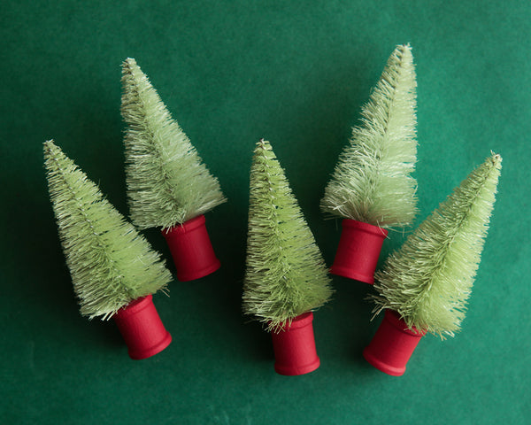 Fresh Green Bottle Brush Trees - 5 Miniature Trees with Red Wooden Spool Bases