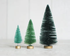 Spruce Forest Bottle Brush Tree Set - 18 Mixed Size Green Sisal Christmas Trees