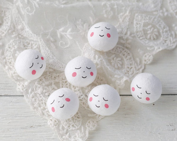 Spun Cotton Angel Heads with Faces, 30mm - Vintage-Style Craft Shapes
