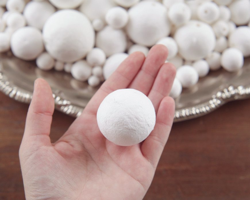 Spun Cotton Balls 6mm Select by Size 50mm Vintage-Style Craft Shapes