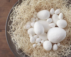 Spun Cotton Eggs, Vintage-Style Craft Shapes, Select by Size