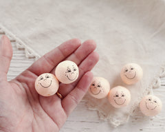 Spun Heads with Faces, 25mm - Peach Vintage-Style Spun Cotton Heads, 6 Pcs.