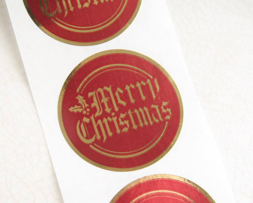 merry christmas stickers retro metallic red and gold foil seals
