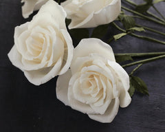 Crepe Paper Rose Kit - Makes 6 Old Fashioned Crepe Paper Flowers - Vanilla Ivory