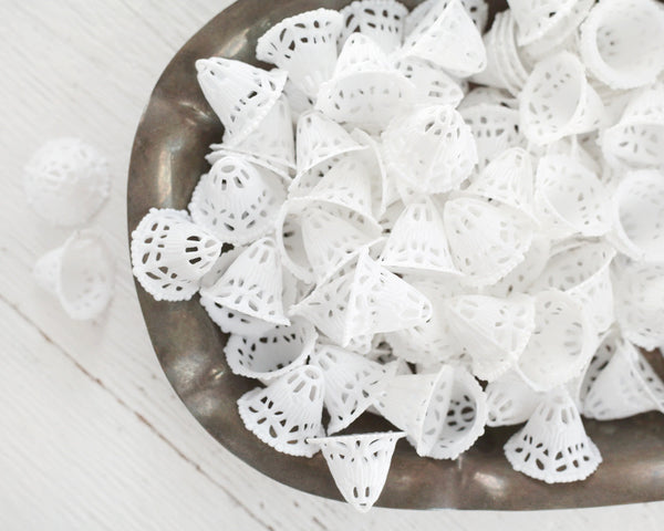 Wedding Bells - One Dozen Mini Retro White Plastic Filigree Bells