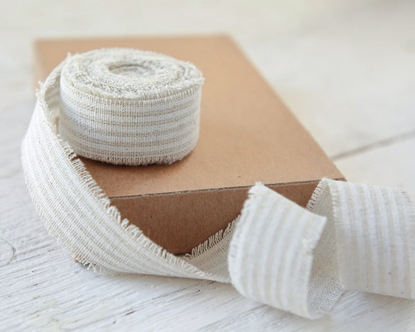 "Striped Linen Ribbon - 1"" Rustic Frayed Edge Fabric Ribbon Roll, 5 Yds"