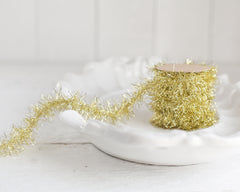 Tinsel Garland - Golden Yellow Vintage Style Christmas Trim, 12 Foot Spool
