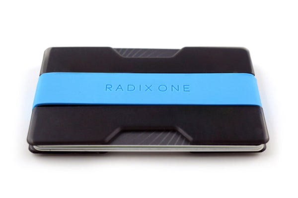 radix one slim wallet smoke / cyan front view