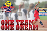 One Team One Dream w/ Jennie Finch World Series logo