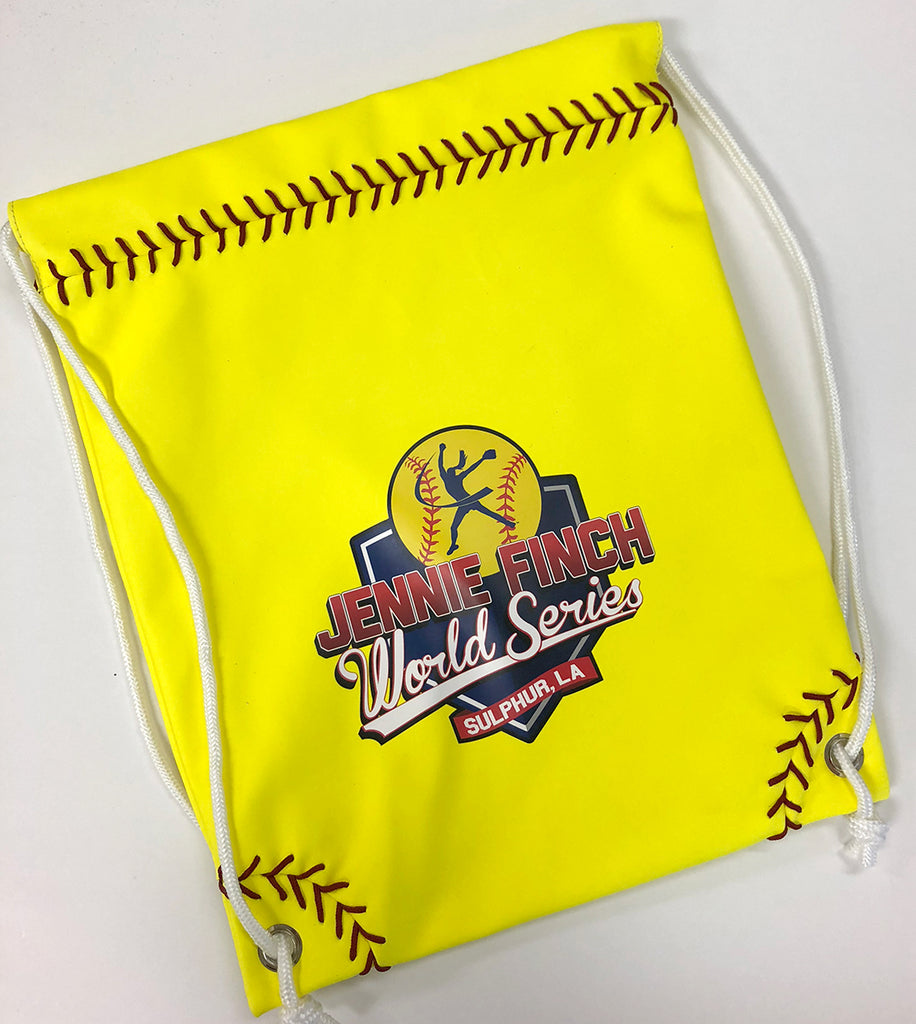 Neon Yellow Softball Drawstring Bag w/ JF World Series Logo
