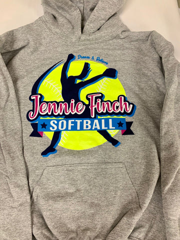 Gray Jennie Finch Softball Hoodie