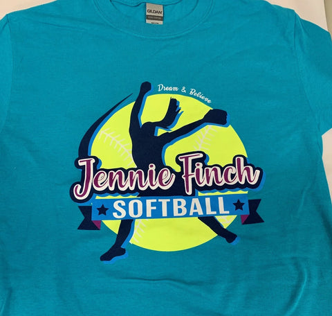 Teal Jennie Finch Softball T-shirt