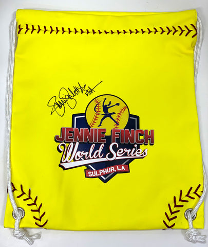 JF World Series AUTOGRAPHED Softball Seam Drawstring Bag