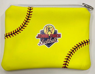 Neon Yellow Softball Coin Purse