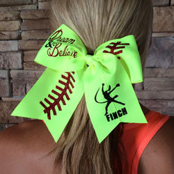 Custom Dream & Believe Optic Yellow Finch Softball Bow